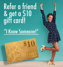 promo text offering $10 gift cards for referrals