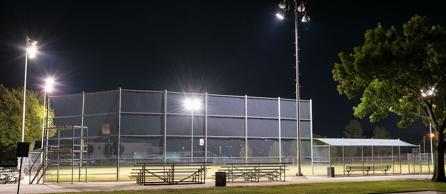 Baseball park at night in Euless, Texas
