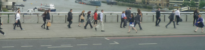 people walking to work