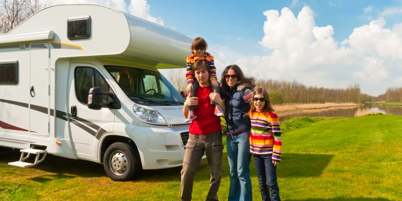 A family with their recreational vehicle